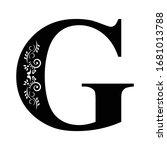 letter g. vintage black flower...   Shutterstock .eps vector #1681013788