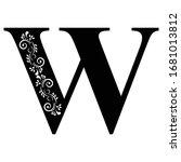 letter w. vintage black flower...   Shutterstock .eps vector #1681013812