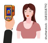 scanning a person female with... | Shutterstock .eps vector #1681018792
