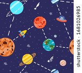 cosmic fabric for kids. space... | Shutterstock .eps vector #1681026985