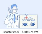 the doctor is wearing a mask... | Shutterstock .eps vector #1681071595