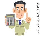 Construction worker showing and explaining a calculator - stock vector
