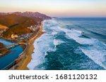 Aerial View Of Big Waves At...