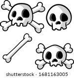 human skull and crossbones....   Shutterstock .eps vector #1681163005