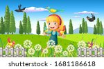 nature scene background with... | Shutterstock .eps vector #1681186618