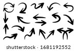 hand drawn arrow vector icons... | Shutterstock .eps vector #1681192552