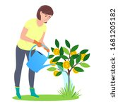 cute woman caring and planting... | Shutterstock .eps vector #1681205182