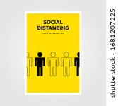 social distancing sign line art ... | Shutterstock .eps vector #1681207225