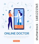 phone video call to the doctor ... | Shutterstock .eps vector #1681221565