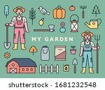 farmer characters and farm... | Shutterstock .eps vector #1681232548