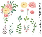 hand drawn vintage pink yellow... | Shutterstock .eps vector #1681250698