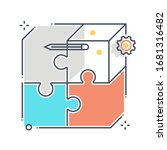 puzzle related color line... | Shutterstock .eps vector #1681316482