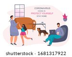 family stay at home  stay safe... | Shutterstock .eps vector #1681317922