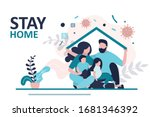 stay home banner template.... | Shutterstock .eps vector #1681346392