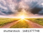 landscape with sunset sky ... | Shutterstock . vector #1681377748
