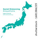 japan map with social... | Shutterstock .eps vector #1681386235