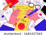 businessman signing documents... | Shutterstock .eps vector #1681427365