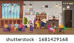cafe with lots of customers and ...   Shutterstock .eps vector #1681429168