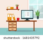 work at home concept. workplace ... | Shutterstock .eps vector #1681435792
