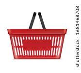 plastic red basket supermarket... | Shutterstock .eps vector #1681468708