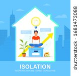 self isolation concept. young...   Shutterstock .eps vector #1681473088