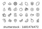 fruit icon set  vector lines ... | Shutterstock .eps vector #1681476472