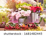 Colorful Showcase In A Florist...