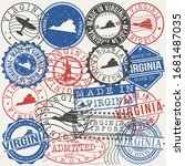 virginia  usa set of stamps.... | Shutterstock .eps vector #1681487035