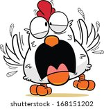 Cartoon white chicken in a frantic panic, feathers flying. - stock vector