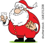 cartoon santa claus snacking on ... | Shutterstock .eps vector #168151208