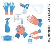 prevention set. rubber gloves... | Shutterstock .eps vector #1681516642
