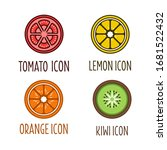 Icons Of A Tomato  Orange  Kiwi ...