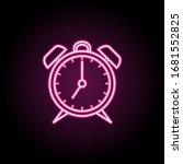 alarm clock neon icon. simple...