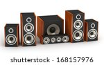 Set Of Red Wooden Speakers For...