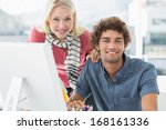 portrait of a smiling casual... | Shutterstock . vector #168161336