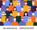 coronavirus people in masks.... | Shutterstock .eps vector #1681616455
