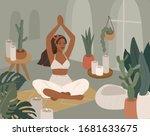 cute girl doing yoga poses....   Shutterstock .eps vector #1681633675