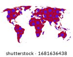 stylized world map with... | Shutterstock .eps vector #1681636438