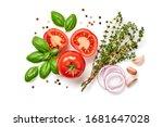 tomato  basil  spices  pepper ... | Shutterstock . vector #1681647028