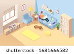 isometric room with woman... | Shutterstock .eps vector #1681666582