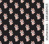 seamless pattern cute fox... | Shutterstock .eps vector #1681680415