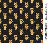 seamless pattern cute tiger... | Shutterstock .eps vector #1681680418