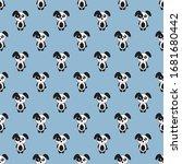 seamless pattern cute dog... | Shutterstock .eps vector #1681680442