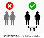 social distancing 6 feet... | Shutterstock .eps vector #1681706668