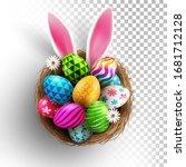 easter eggs and easter bunny... | Shutterstock .eps vector #1681712128