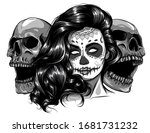 monochromatic sugar skull girl...