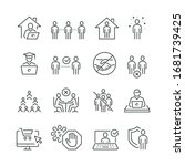 social distancing related icons ... | Shutterstock .eps vector #1681739425