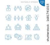 social distancing related icons.... | Shutterstock .eps vector #1681741015