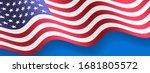 waving us america flag vector... | Shutterstock .eps vector #1681805572