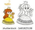 little princess in yellow dress ...   Shutterstock .eps vector #1681825138